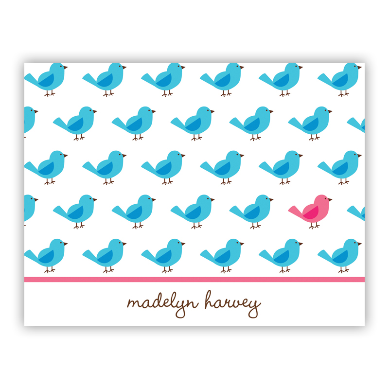 Birdies Repeat Stationery, 25 Foldover Notecards