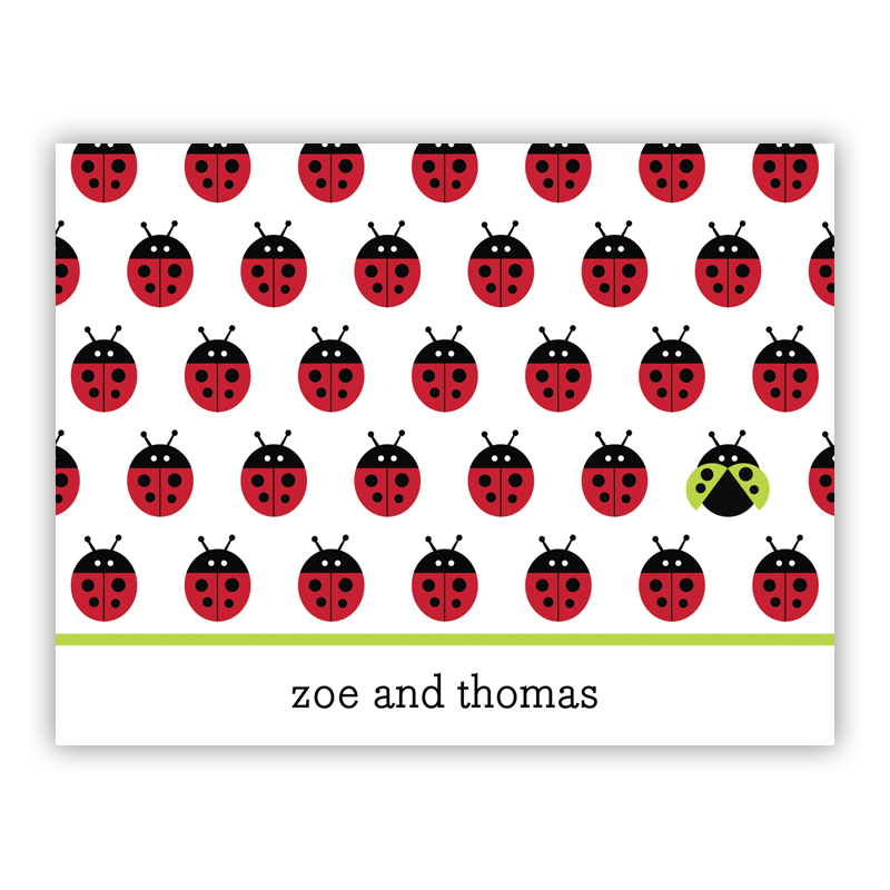 Ladybugs Repeat Stationery, 25 Foldover Notecards