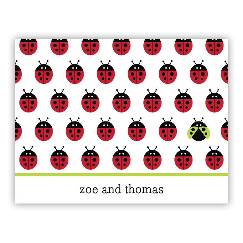 Ladybugs Repeat Stationery, 25 Foldover Notecards