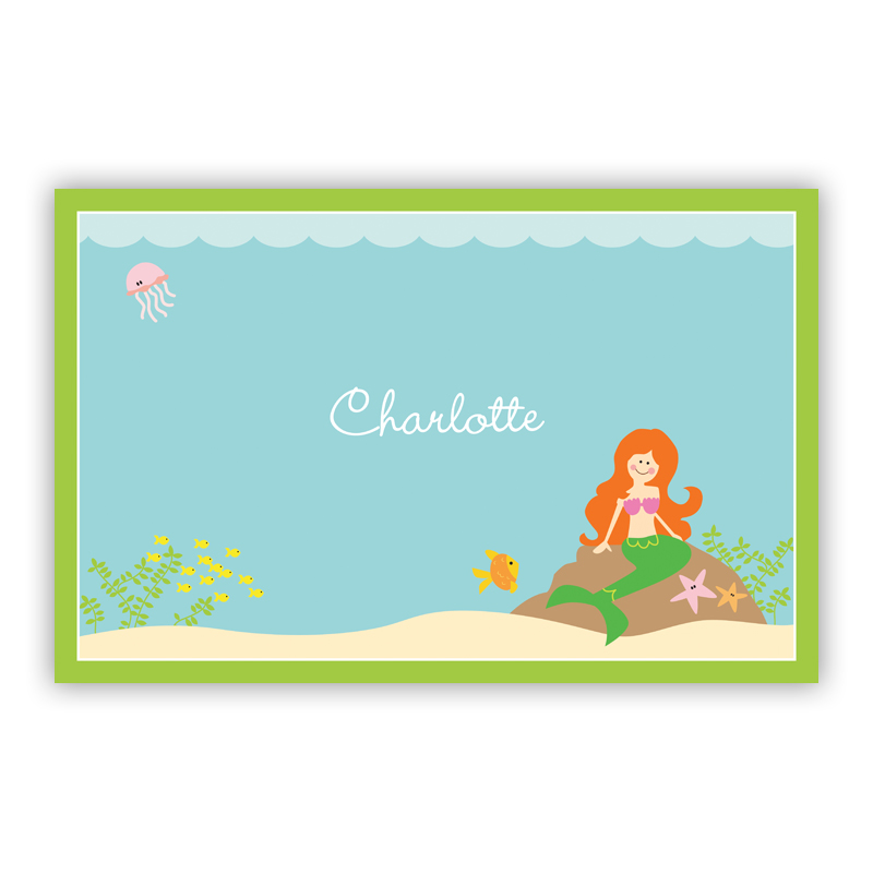 Mermaid, Customized Disposable Personalized Placemat, 25 sheet pad
