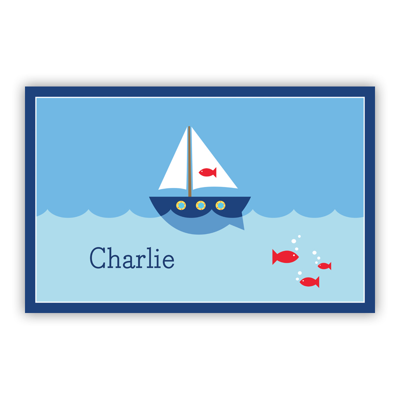 Sailboat Disposable Personalized Placemat, 25 sheet pad