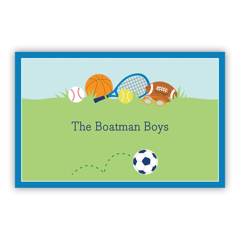 Sports Boy Disposable Personalized Placemat, 25 sheet pad