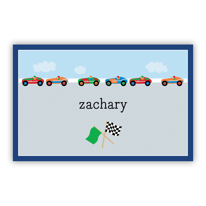 Race Cars Disposable Personalized Placemat, 25 sheet pad