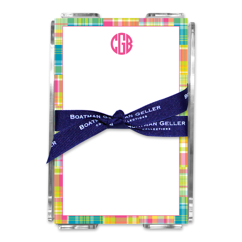 Personalized Madras Patch Bright Note Sheets in Acrylic Holder