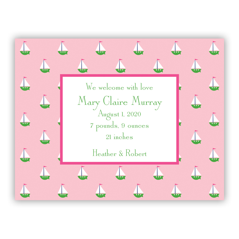 Little Sailboat Pink Small Flat Invitation or Announcement