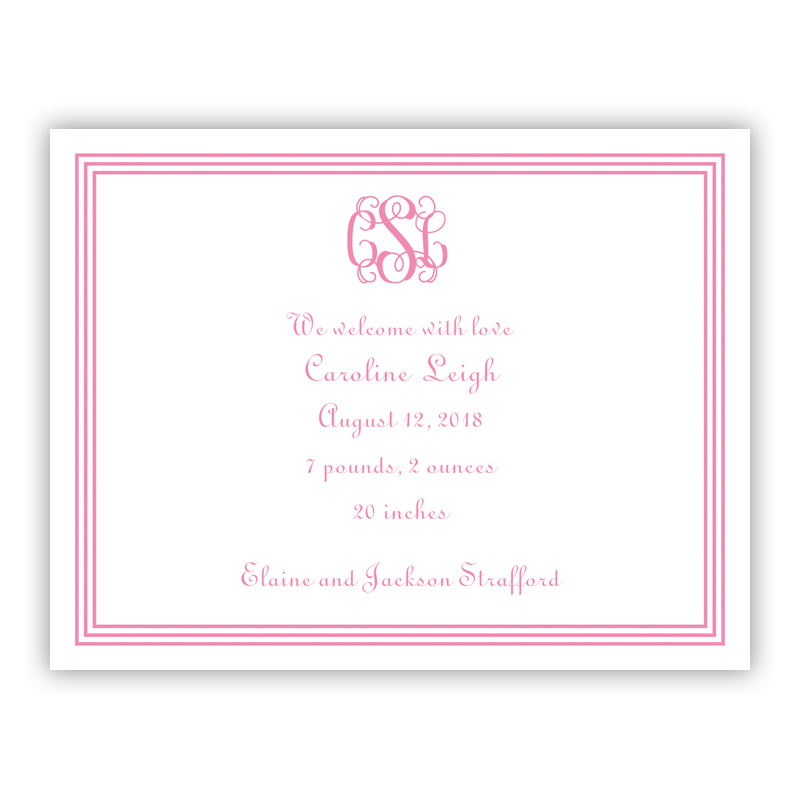 Grand Border Pink Small Flat Invitation or Announcement