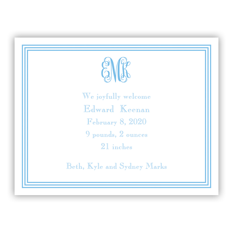 Grand Border Blue Small Flat Invitation or Announcement