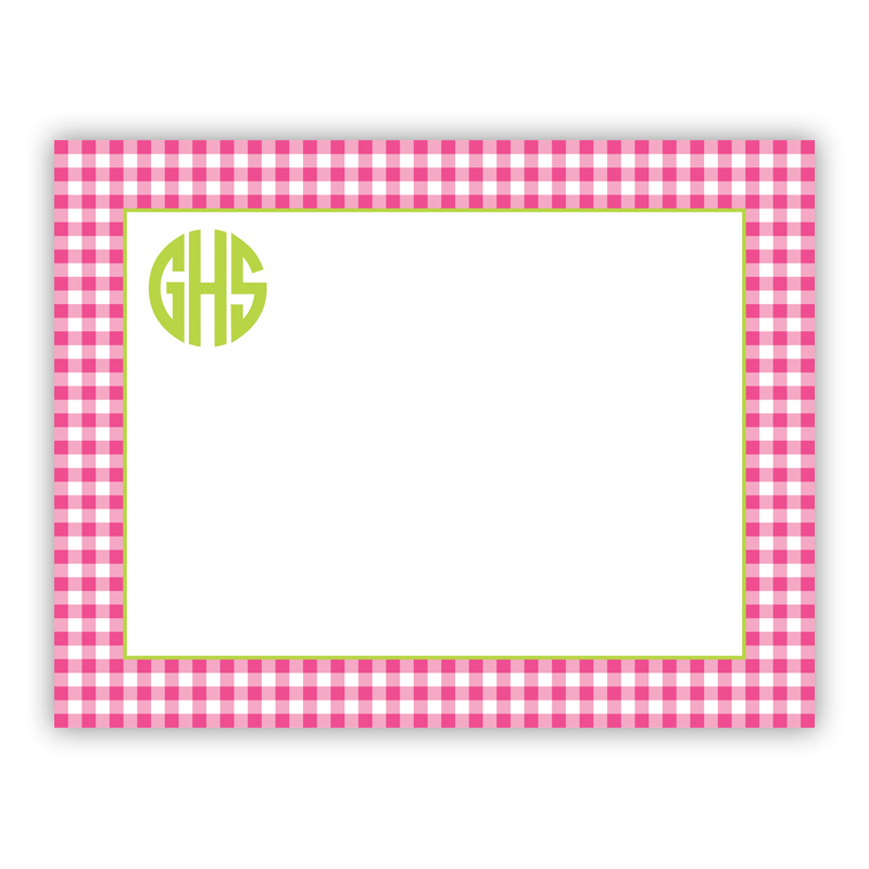 Gingham Raspberry Small Flat Stationery Note
