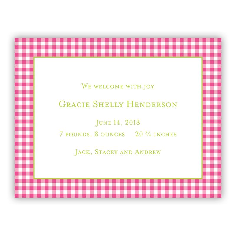 Gingham Raspberry Small Flat Invitation or Announcement