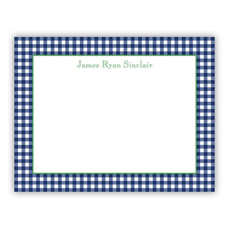 Gingham Navy Small Flat Stationery Note