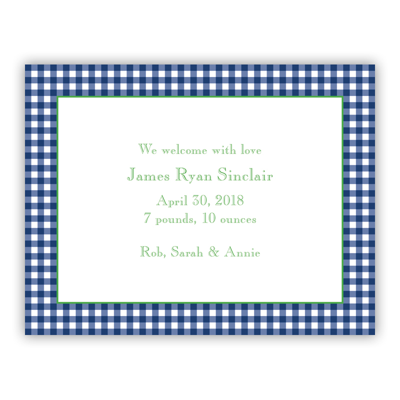 Gingham Navy Small Flat Invitation or Announcement