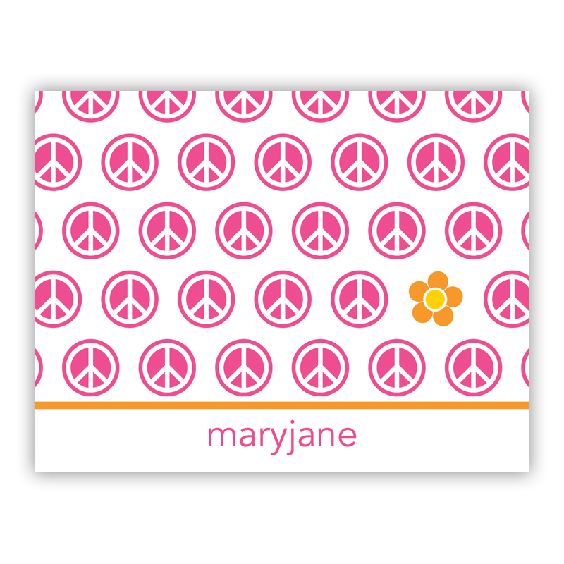 Peace Repeat Stationery, 25 Foldover Notecards
