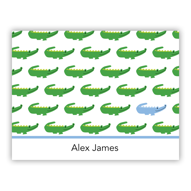 Alligator Repeat Blue Stationery, 25 Foldover Notecards