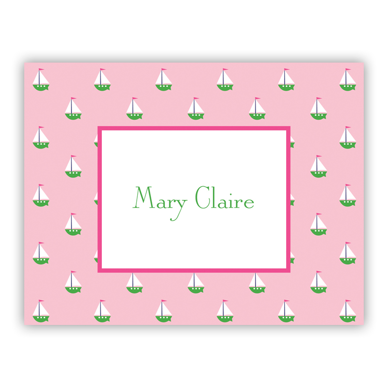 Little Sailboat Pink Stationery, 25 Foldover Notecards