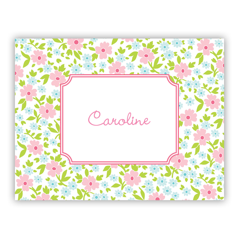 Emma Floral Pink Stationery, 25 Foldover Notecards