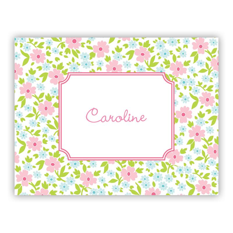 Emma Floral Pink Stationery, 25 Foldover Notecards