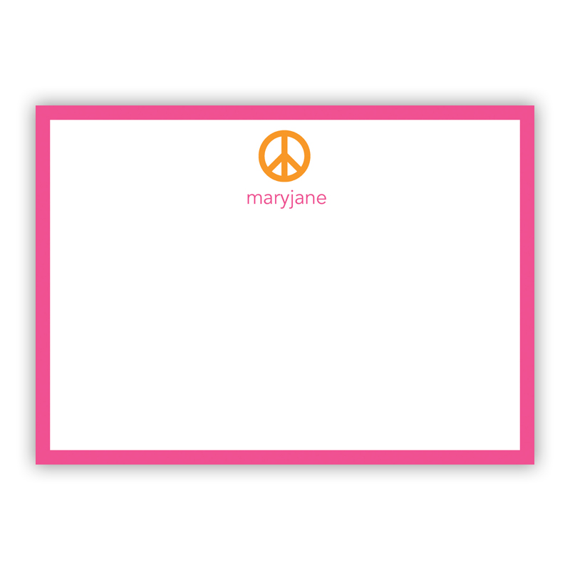 Peace Sign Orange Flat Stationery, 25 Notecards