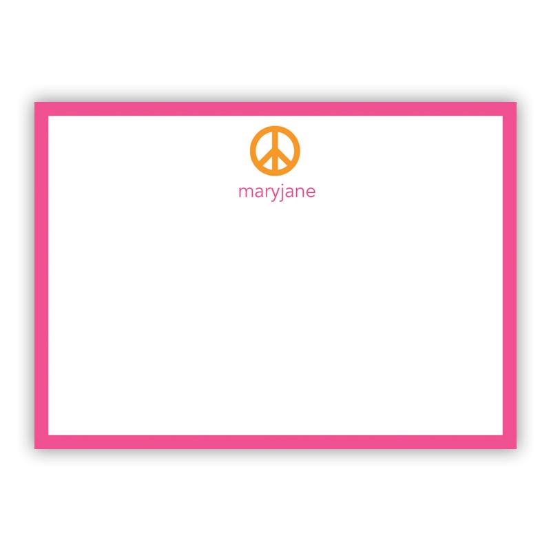 Peace Sign Orange Flat Stationery, 25 Notecards