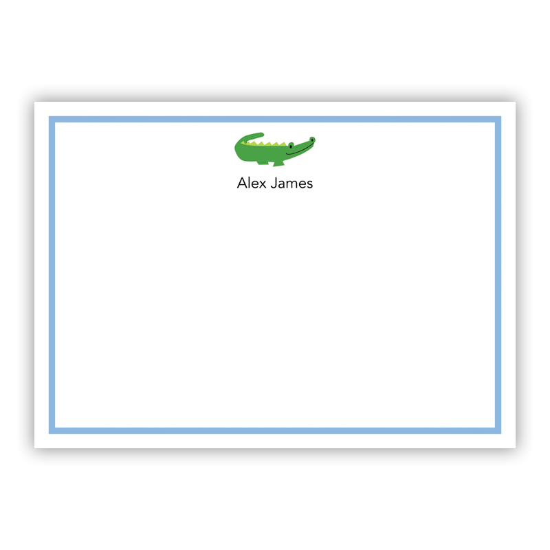 Alligator Blue Flat Stationery, 25 Notecards