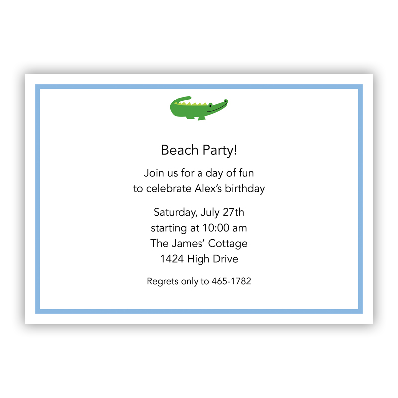 Alligator Blue Invitation or Announcement, sets of 25