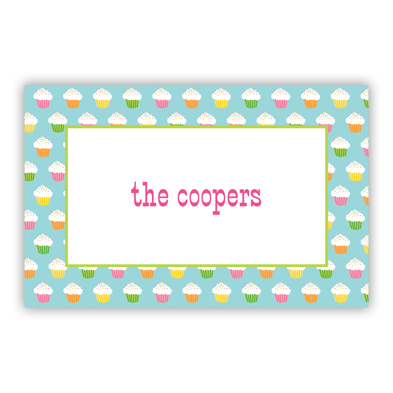 Rainbow Cupcakes Disposable Personalized Placemat, 25 sheet pad