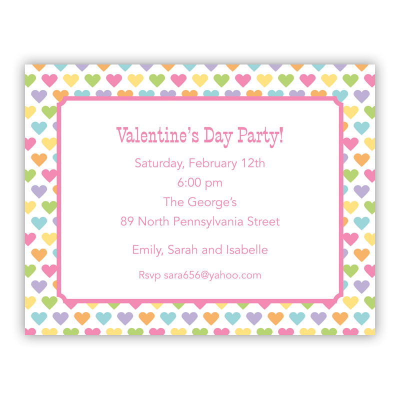 Candy Hearts Small Flat Invitation or Announcement