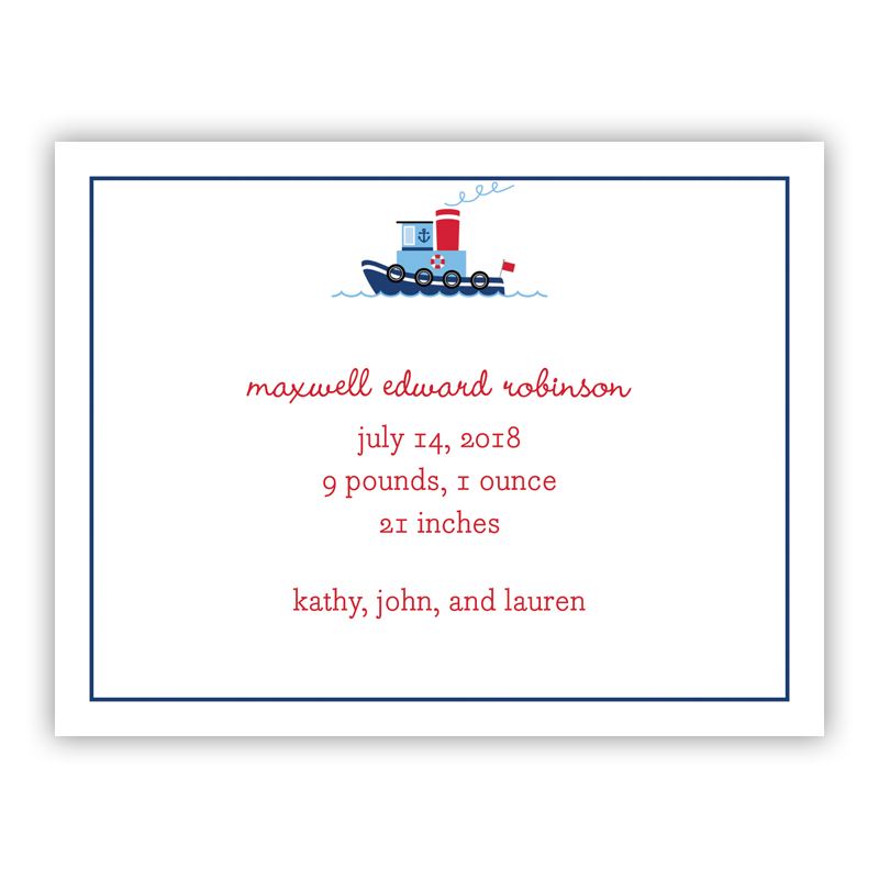 Tug Small Flat Invitation or Announcement