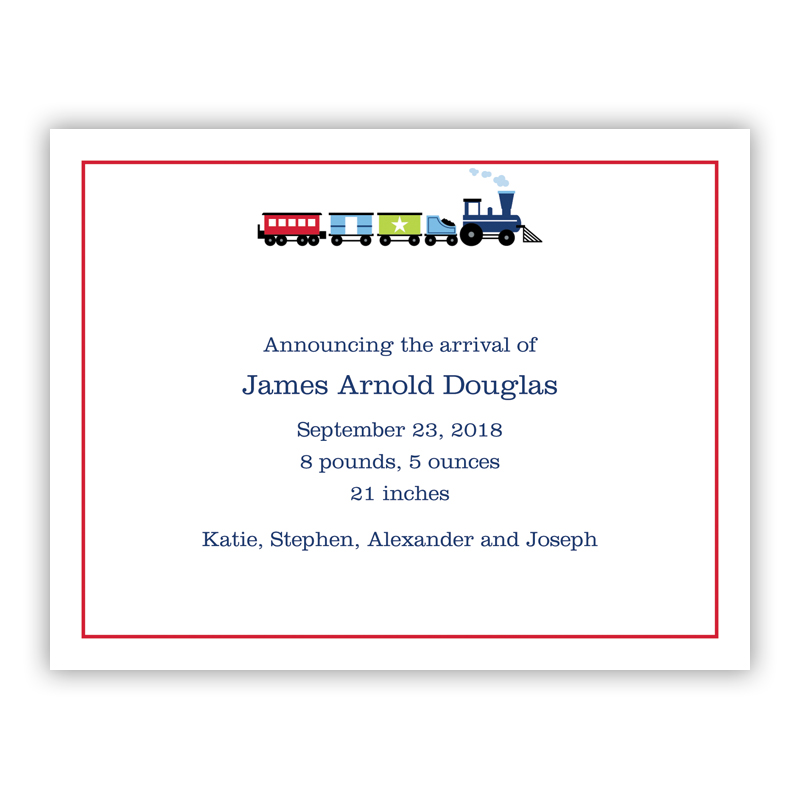 Choo Choo Train Small Flat Invitation or Announcement