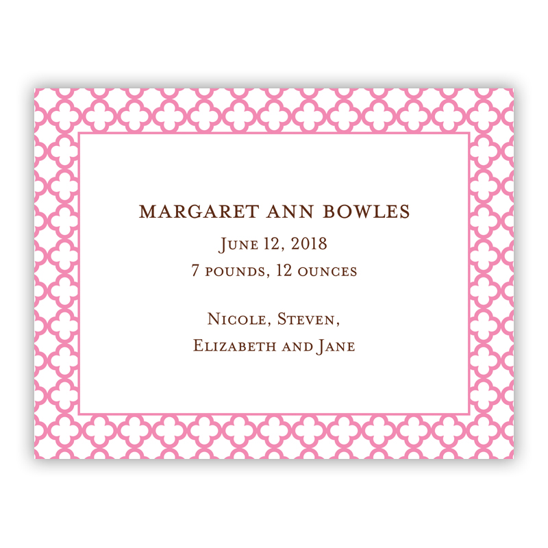 Bristol Petite Pink Small Flat Invitation or Announcement