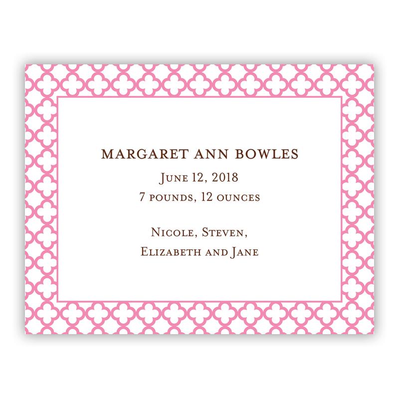 Bristol Petite Pink Small Flat Invitation or Announcement