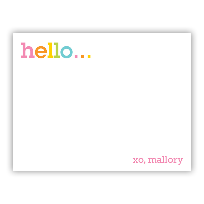 Rainbow Hello Small Flat Stationery Note