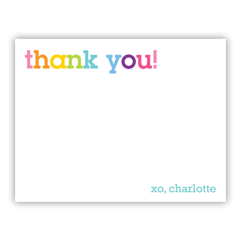 Rainbow Thank You Small Flat Stationery Note