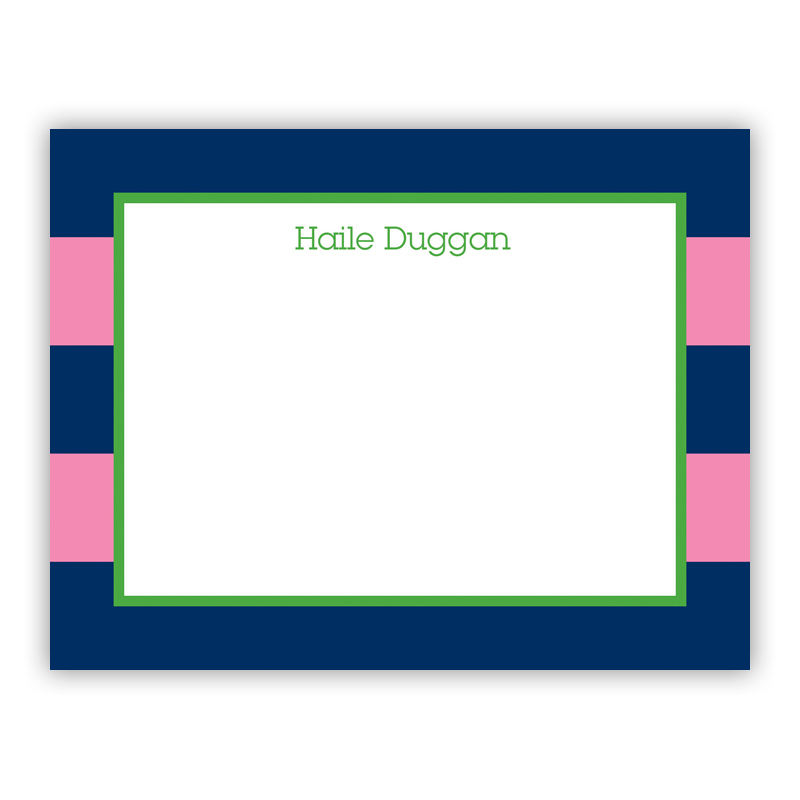 Rugby Navy & Pink Small Flat Stationery Note