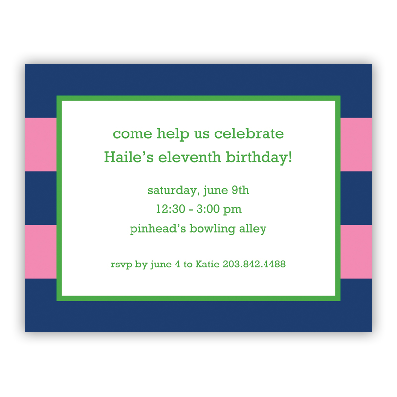 Rugby Navy & Pink Small Flat Invitation or Announcement