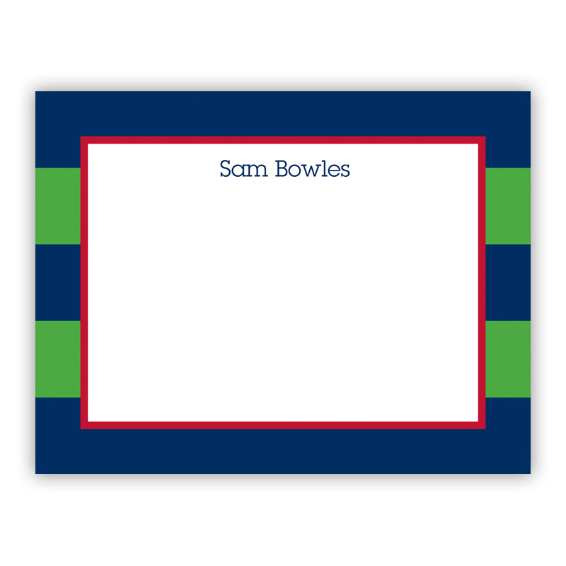 Rugby Navy & Kelly Small Flat Stationery Note
