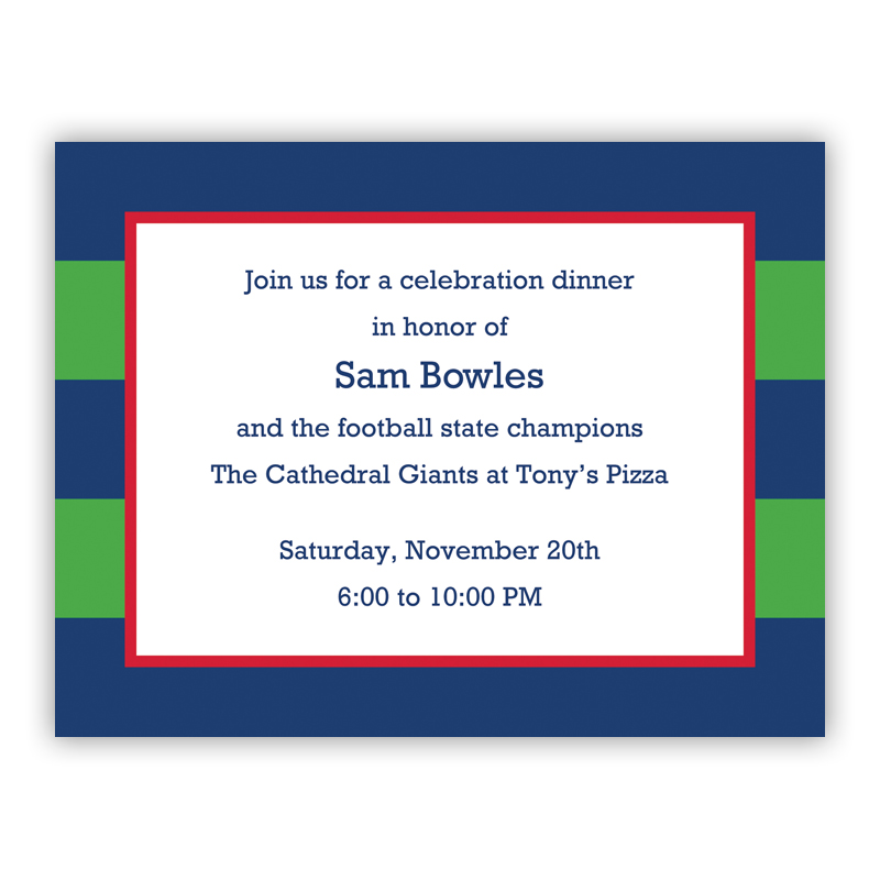 Rugby Navy & Kelly Small Flat Invitation or Announcement