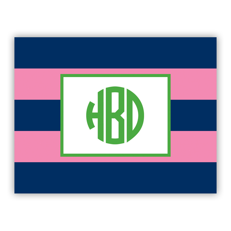 Rugby Navy & Pink Stationery, 25 Foldover Notecards