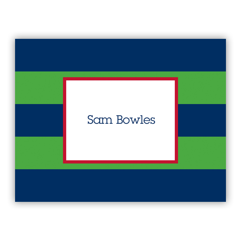 Rugby Navy & Kelly Stationery, 25 Foldover Notecards