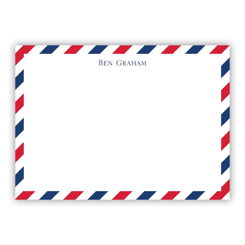 Via Red & Blue Flat Stationery, 25 Notecards