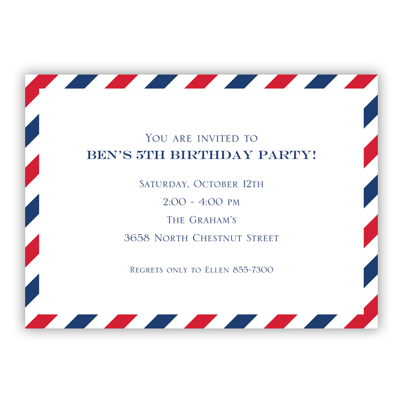 Via Red & Blue Invitation or Announcement, sets of 25