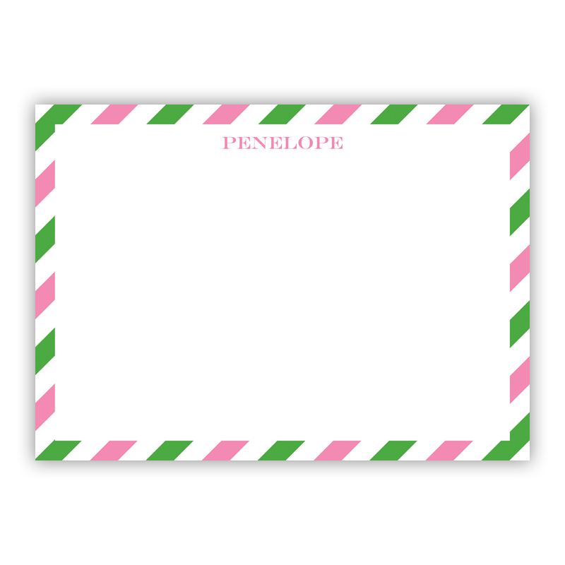 Via Pink & Green Flat Stationery, 25 Notecards