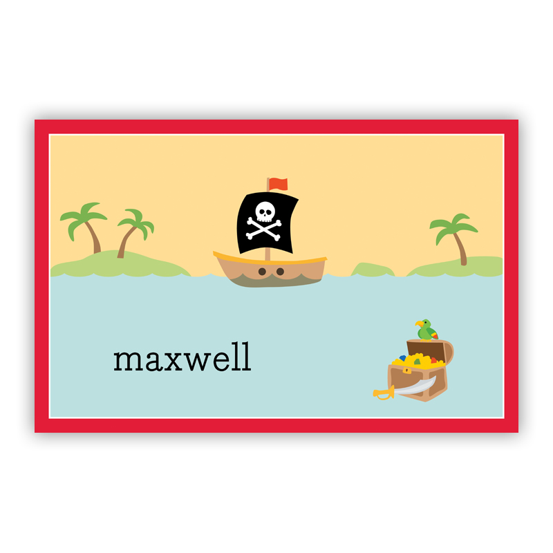 Pirate Disposable Personalized Placemat, 25 sheet pad