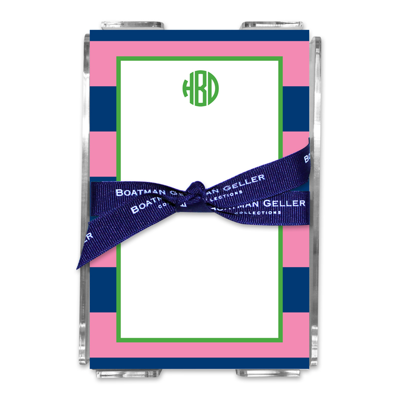 Personalized Rugby Navy & Pink Note Sheets in Acrylic Holder
