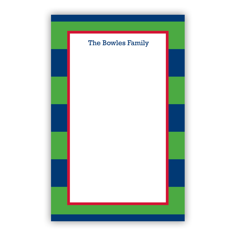 Personalized Rugby Navy & Kelly Notepad (100 sheets)