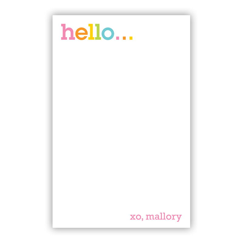 Personalized Rainbow Hello Notepad (100 sheets)