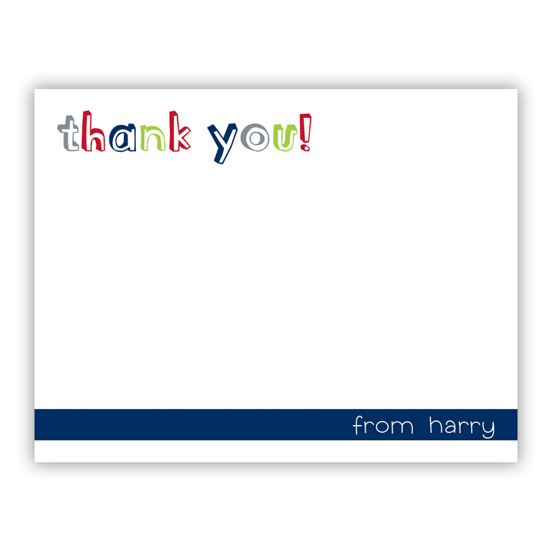Thank You Navy Small Flat Stationery Note