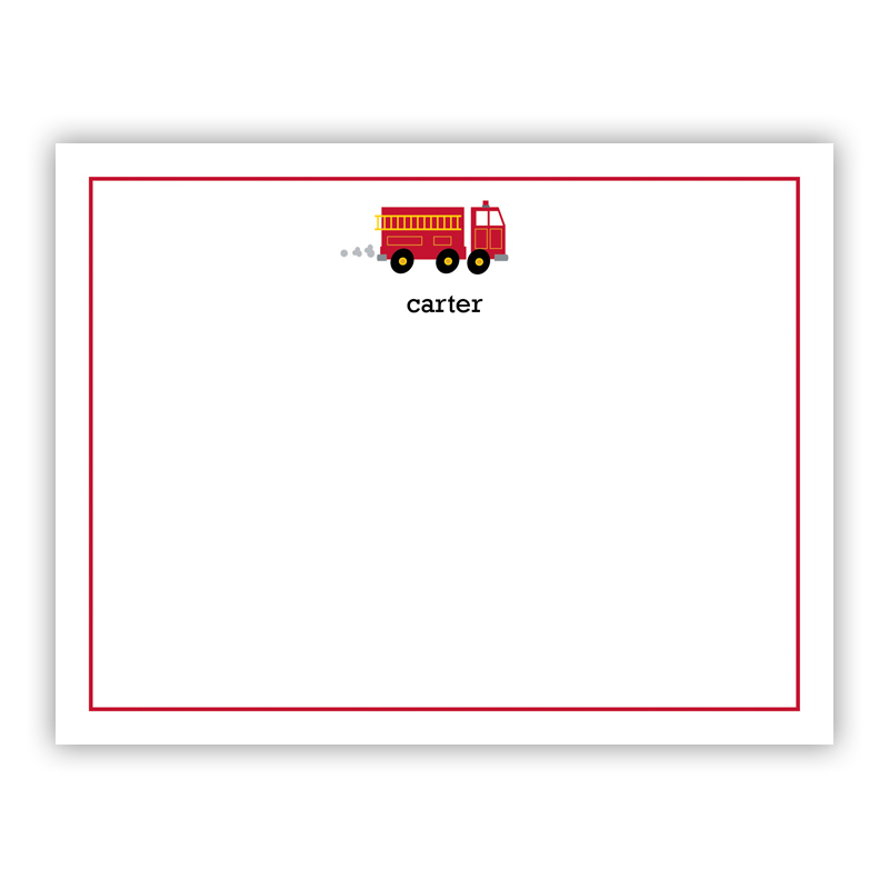 Fire Truck Small Flat Stationery Note