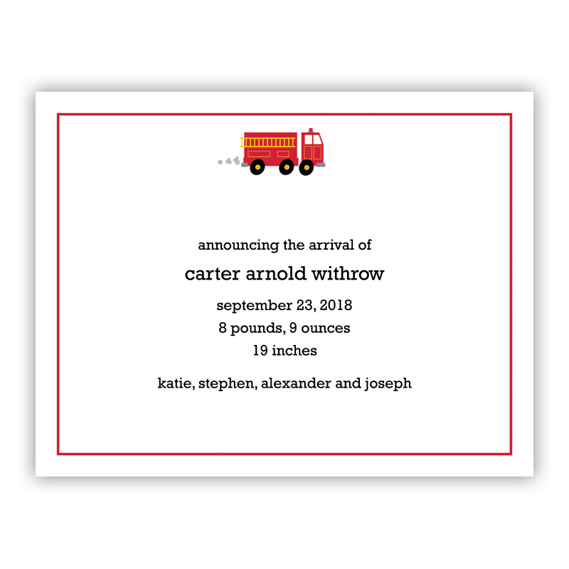 Fire Truck Small Flat Invitation or Announcement