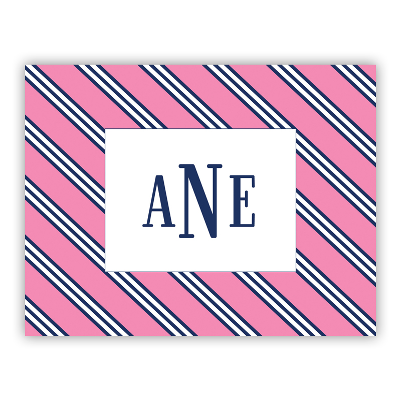 Repp Tie Pink & Navy Stationery, 25 Foldover Notecards