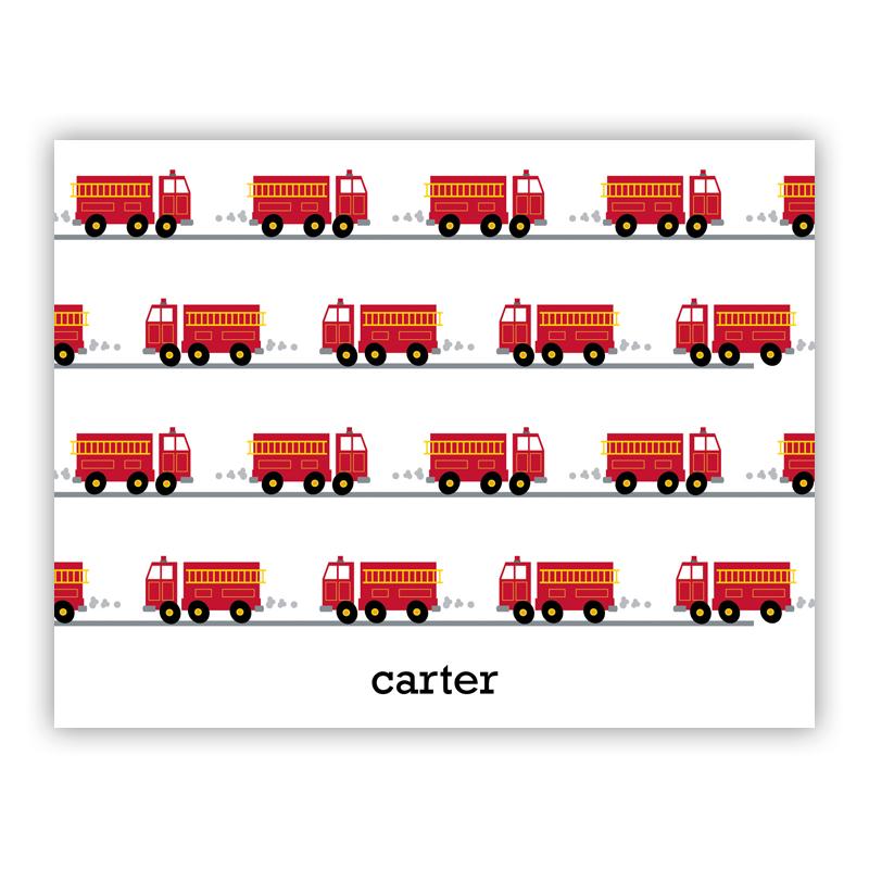 Fire Truck Stationery, 25 Foldover Notecards